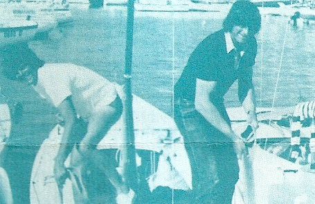 Vince Brun, his brother Gastao, and Steven Bakker preparing the Soling at Anzio, Italy worlds 1981