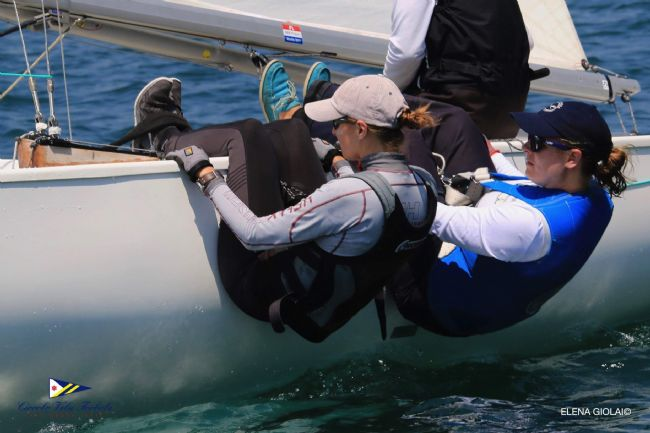 More and more girls sailing the Soling, here GER 11 and Anna Dietzel and Susanne Kuchta<br />@Elena Giolai