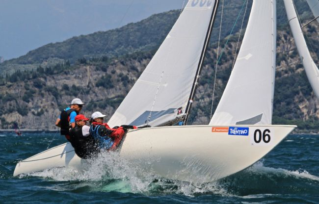 Martin in the middle sailing with Karl and Irene Haist at the Europeans 2019 - Lake Garda