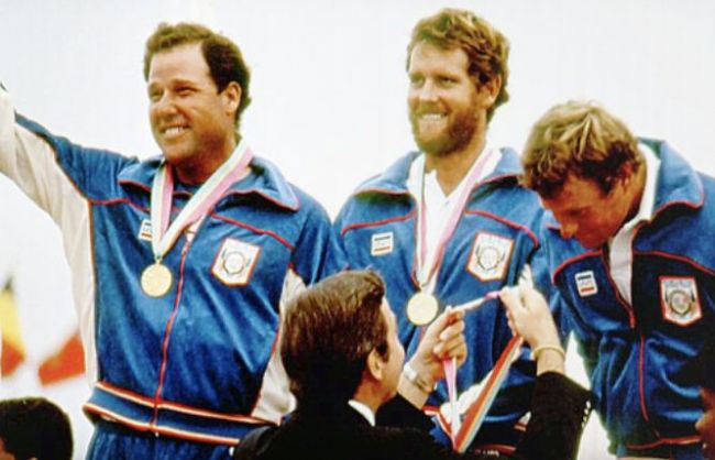 Robbie Heines, Eddie Trevelyan and Rod Davis - Gold Medal Ceremony