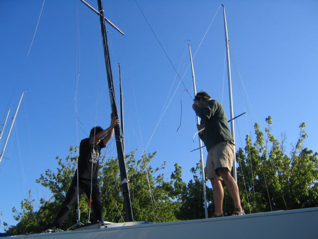 PART C when PB is almost at the mast step and PS is walking forward  pulling the mast and will connect the forestay to the extension at the bow.<br> Mast should rake forward to help but<b> be sure the Bakstay was connected before</b>.
